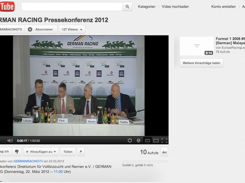 Screenshot Pressekonfernz German Racing